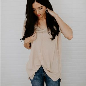 Hi Low Waffle Knit Top - Taupe